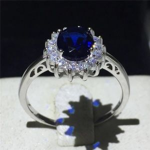 Jewelry - Princess Diana Sterling Silver Blue 5A Zircon Cz